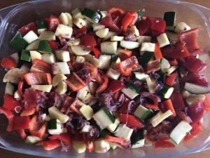 Gemüsemischung für marinierte Hähnchenbrust