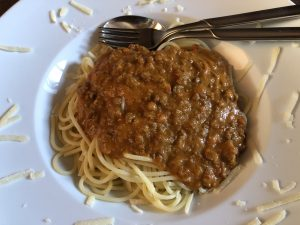 Spaghetti mit Paprika Bolognese